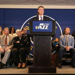 Zane Miller talks about the announcement that ownership of the Jazz will be transferred into a legacy trust to ensure the Jazz stay in Utah at the Vivant Smart Home Arena in Salt Lake City on Monday, Jan. 23, 2017.
