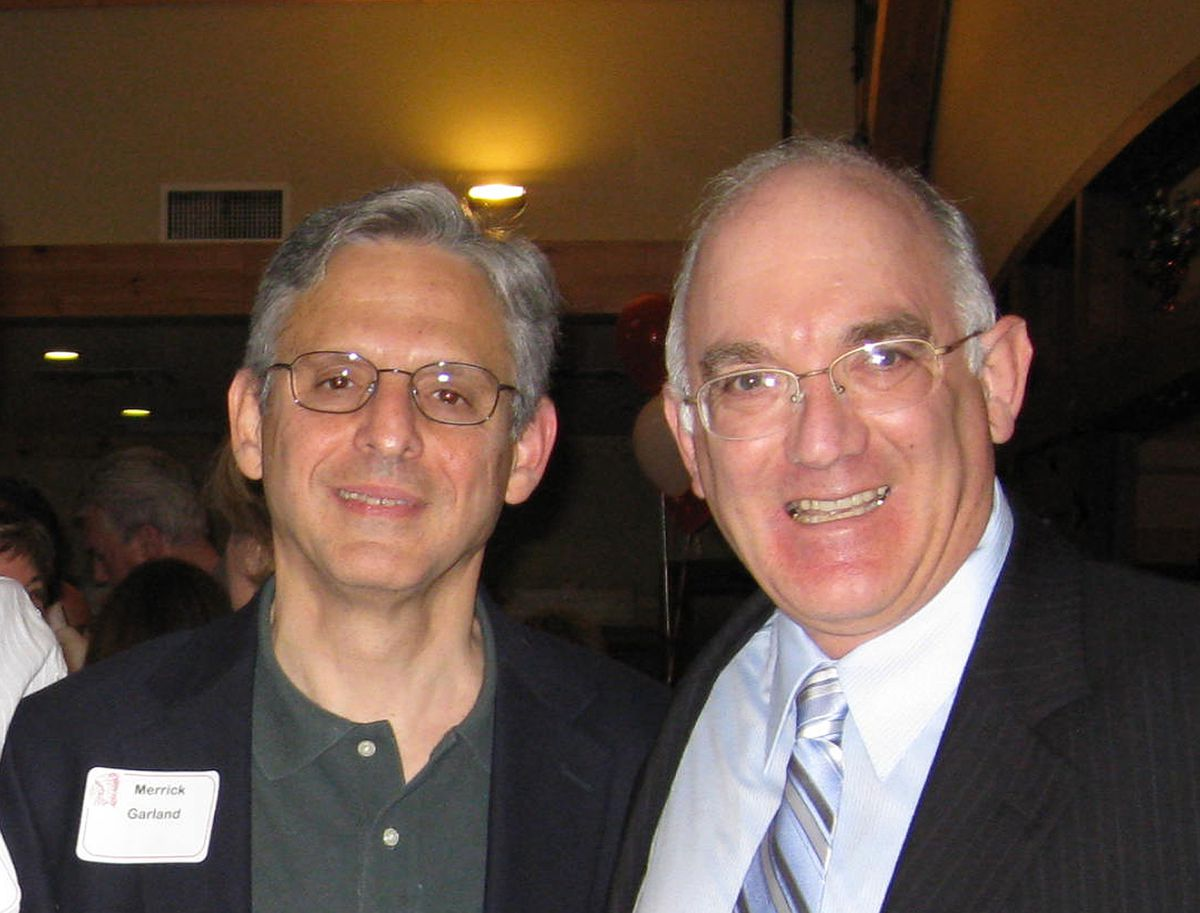 Merrick Garland (left) with Doug Mann at their Niles West High School 40th reunion of the class of 1970.   Photo courtesy of Doug Mann