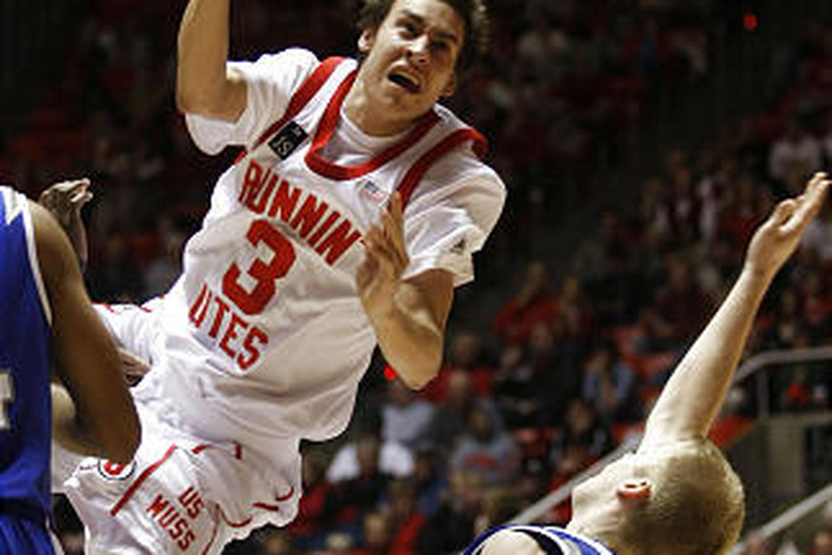 Utah's Marshall Henderson, shown here in a previous game, shined in a return to Texas.
