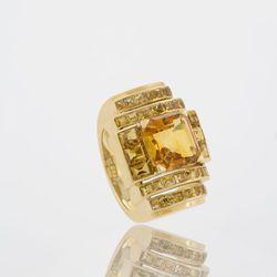 French Retro 18 karat gold ring with citrines. Circa 1935. $40,000