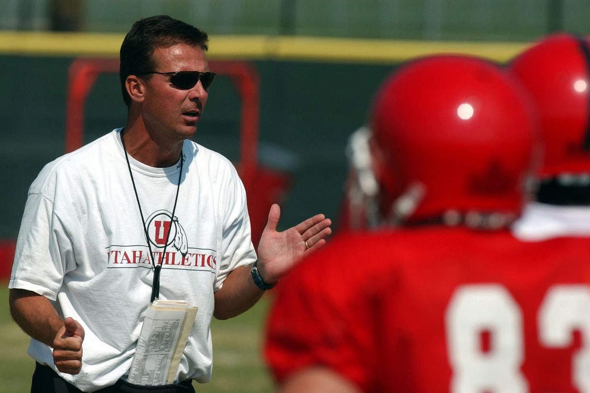 FILE: Utah football coach Urban Meyer coaches practice at the practice facility at the University of Utah on Aug. 18, 2003.