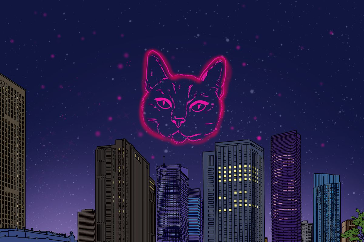 A glittering city at night, with the sky illuminated by the huge face of a glowing pink cat made out of light.