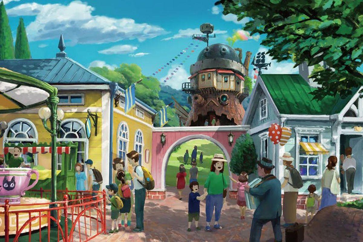 Illustration of Ghibli amusement park village