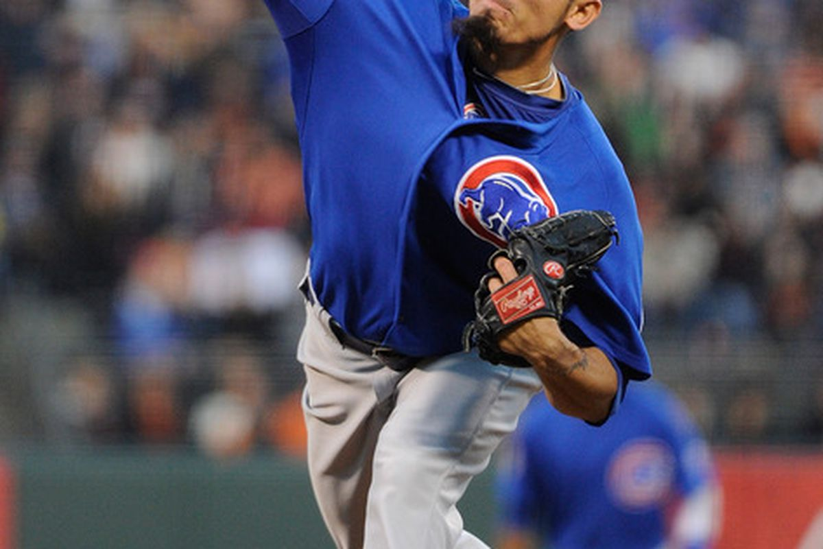 Matt Garza of the Chicago Cubs pitches against the San Francisco Giants in the first inning during a baseball game at AT&T Park in San Francisco, California.  (Photo by Thearon W. Henderson/Getty Images)