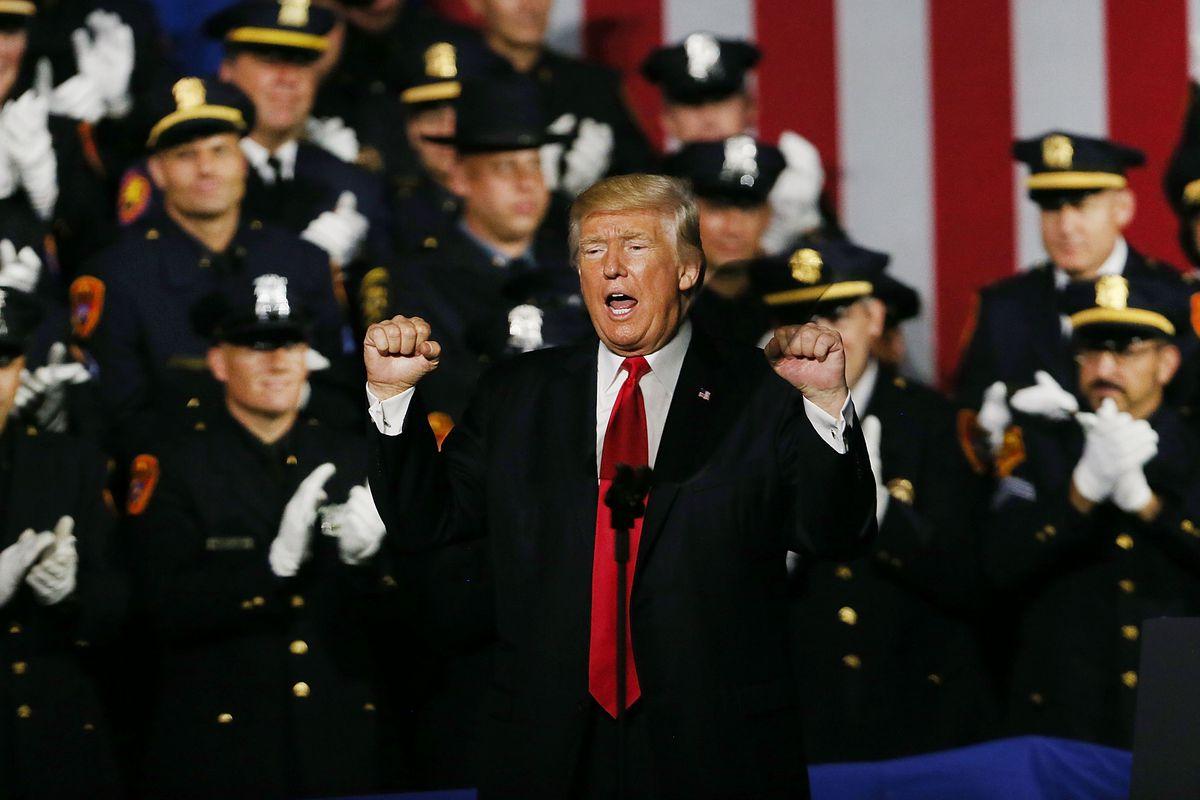 Donald Trump Addresses Members Of Law Enforcement On Long Island