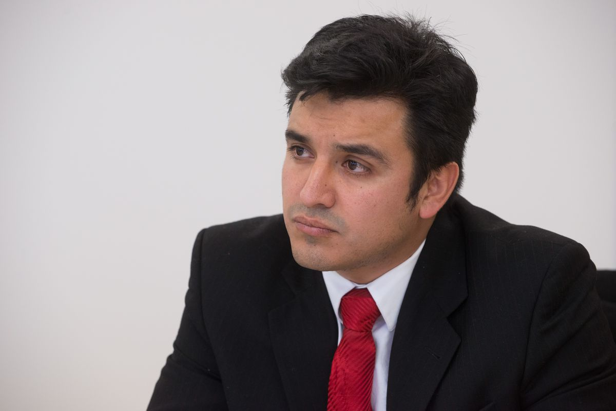 <strong><small>Byron Sigcho talks to the Sun-Times editorial board about running to represent the 25th Ward in Chicago City Council on Jan. 19, 2015. | Peter Holderness / Sun-Times</small></strong>