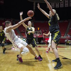 Utah Utes forward Emily Potter (12) passes the ball while guarded by Oregon Ducks guard Maite Cazorla (5) and forward Mallory McGwire (44) during the Utes' 84-68 loss to the Oregon Ducks at the Jon M. Huntsman Center in Salt Lake City on Sunday, Jan. 28, 2018.
