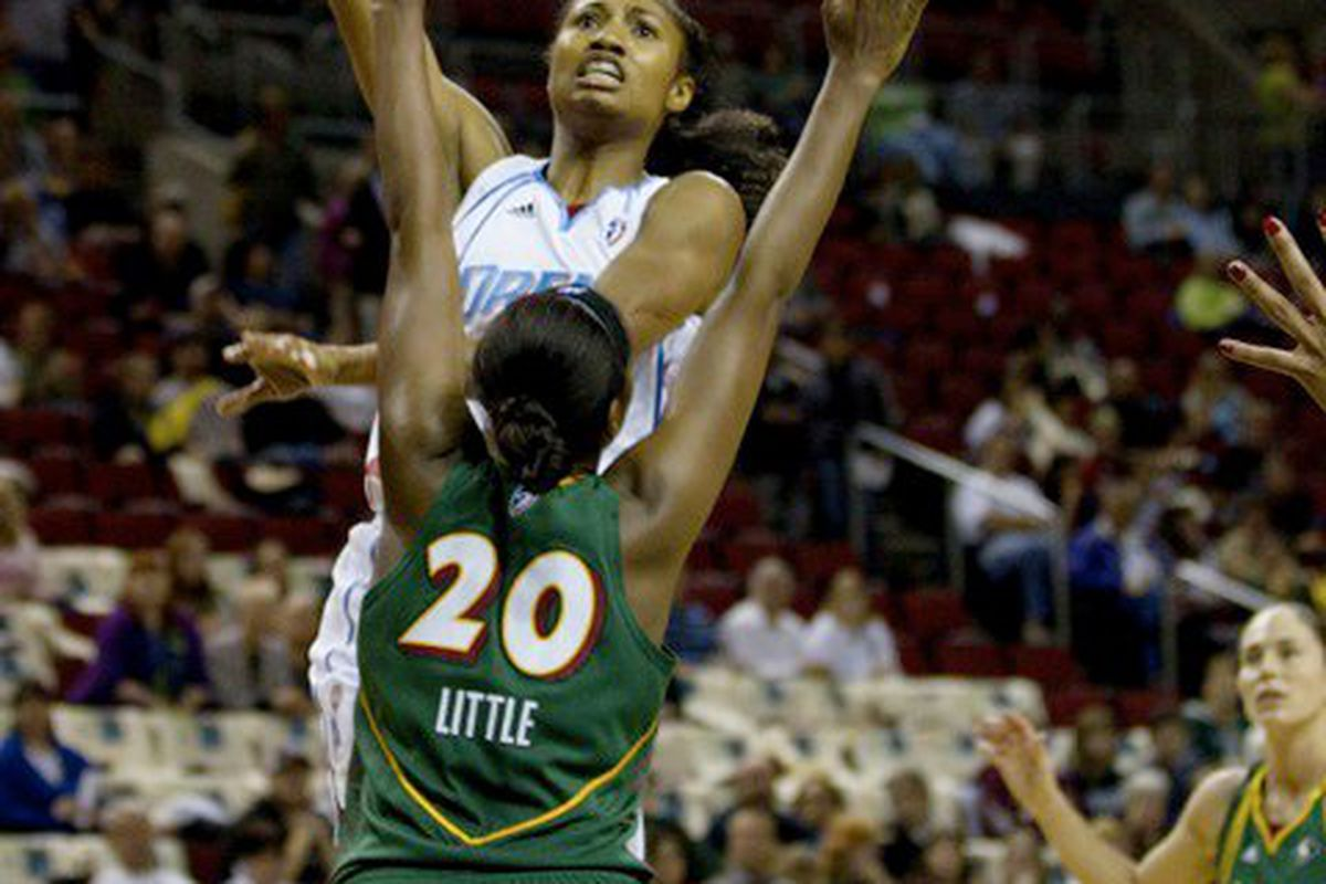 """Atlanta Dream wing Angel McCoughtry led her team past the New York Liberty with 42 points in Game 2 of the Eastern Conference Finals. <em>Photo by<a href=""""http://www.kailasimages.com"""" target=""""new""""> Kailas Images</a>. </em>"""