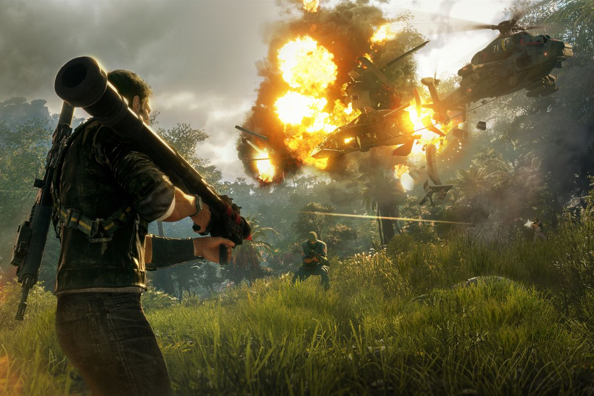 Just Cause 4 - Rico takes down a helicopter with an RPG