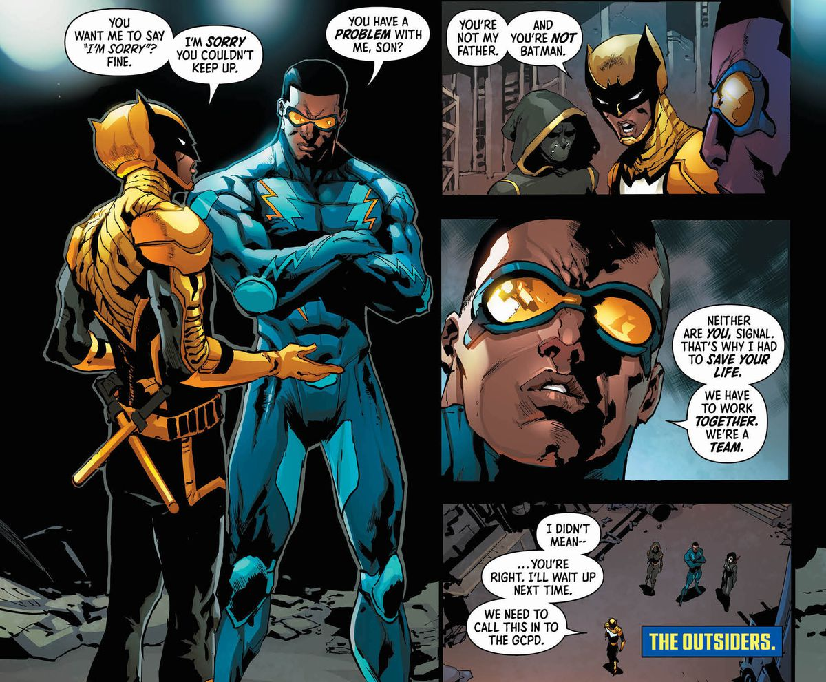 Signal and Black Lightning, with Orphan and Katana looking on, in Batman & the Outsiders #1, DC Comics (2019).