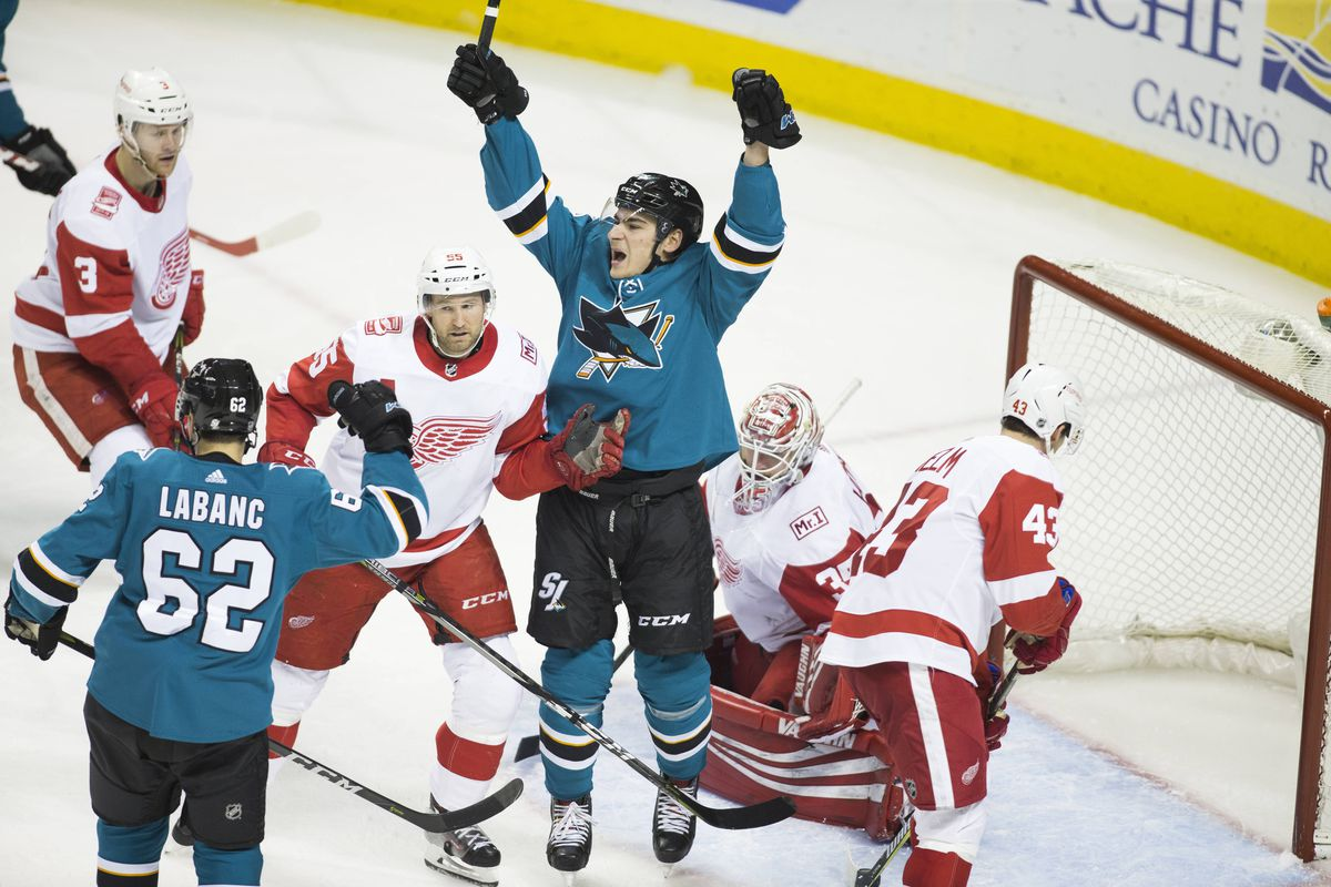 Mar 12, 2018; San Jose, CA, USA; San Jose Sharks right wing Timo Meier (28) celebrates after scoring a goal against Detroit Red Wings goalie Jimmy Howard (35) during the third period at SAP Center at San Jose.