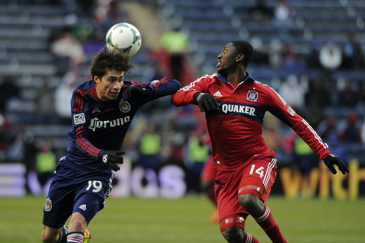 Patrick Nyarko (R) won't have to deal with Jorge Villafana's insane work ethic this weekend, as Villafana is now a Portland Timbers player.
