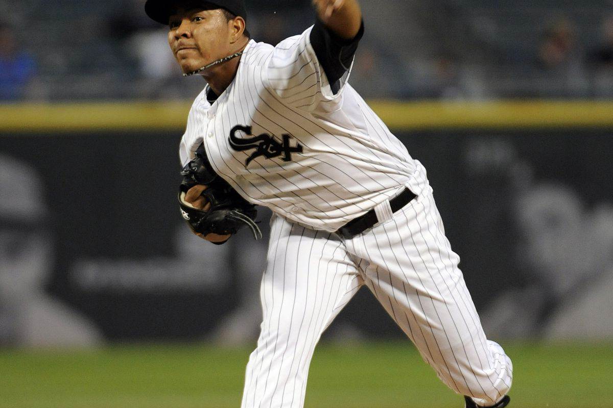 September 04, 2012; Chicago, IL, USA; Chicago White Sox starting pitcher Jose Quintana (62) pitches against the Minnesota Twins in the first inning at U.S. Cellular Field. Mandatory Credit: David Banks-US PRESSWIRE