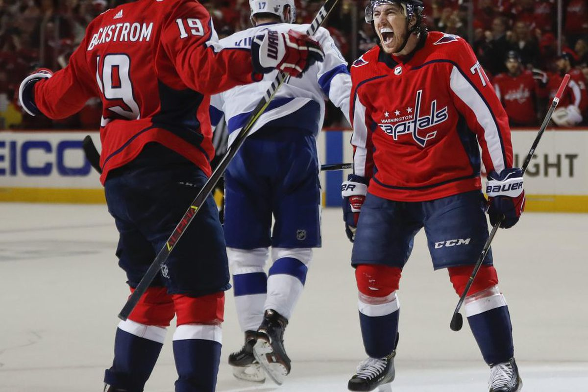 f00809d4a Washington Capitals right wing T.J. Oshie (77) celebrates his goal against  the Tampa Bay Lightning with teammate Washington Capitals center Nicklas ...