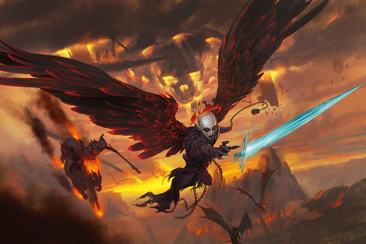 Cover art for D&D's Baldur's Gate: Descent into Avernus. Archdevil Zariel reaches for her sword—a reminder of her angelic origins—as her evil henchman Haruman follows her into damnation.