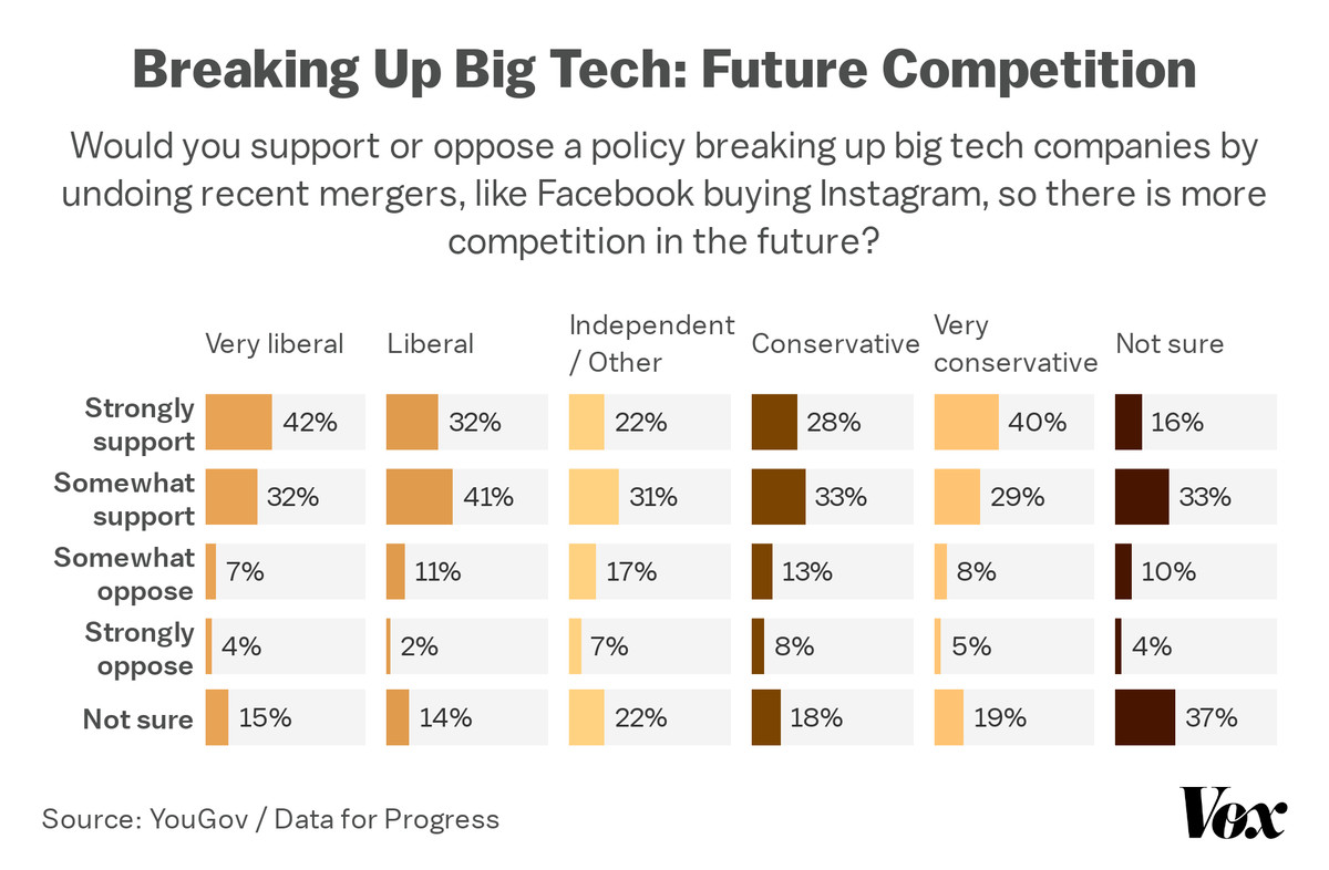 Chart showing support for breaking up big tech in order to promote competition by ideology.