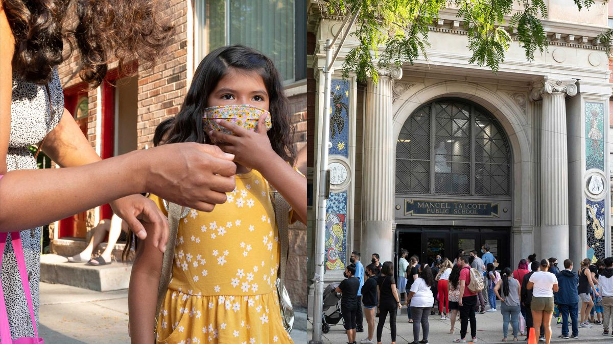 (Left) A mother helps her daughter, who is wearing a yellow dress and protective mask, prepare to head to school on their first day. (Right) Parents wait outside of the entrance of a large school with columns out front as their children enter for their first day.