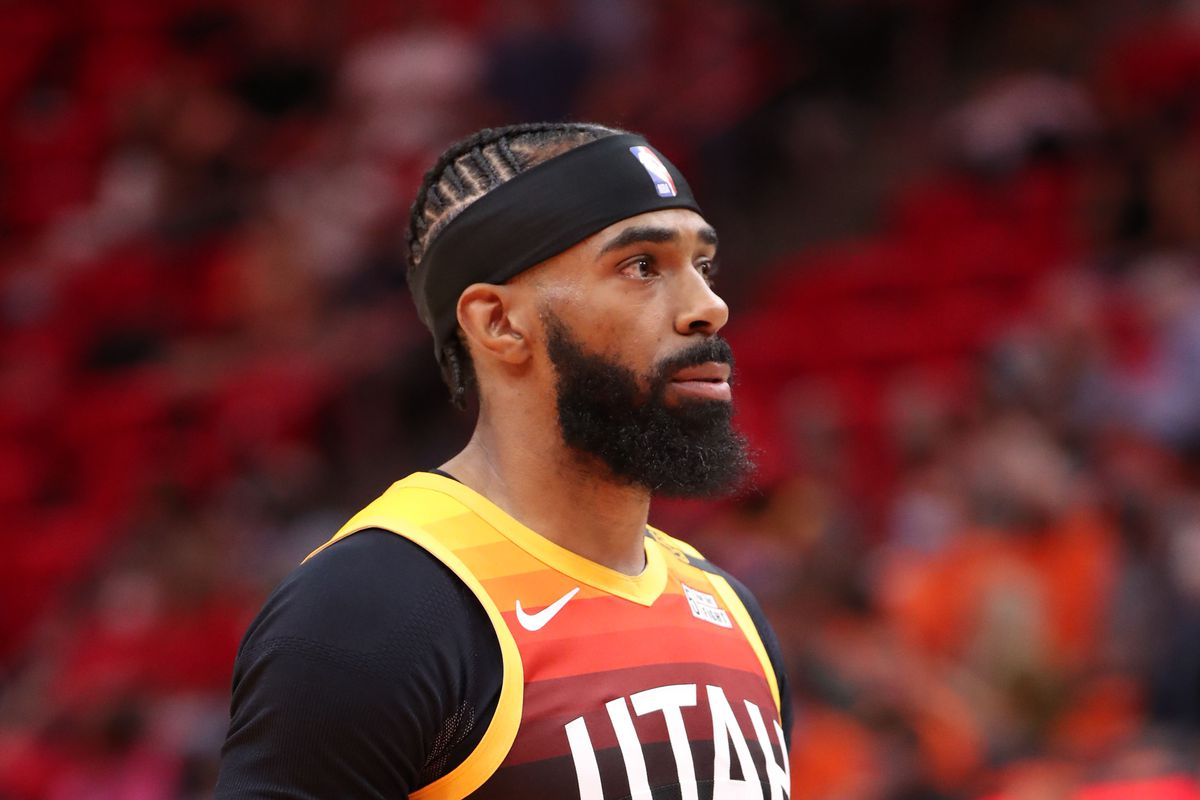 Mike Conley of the Utah Jazz looks on during Round 1, Game 5 of the 2021 NBA Playoffs on June 2, 2021 at vivint.SmartHome Arena in Salt Lake City, Utah.