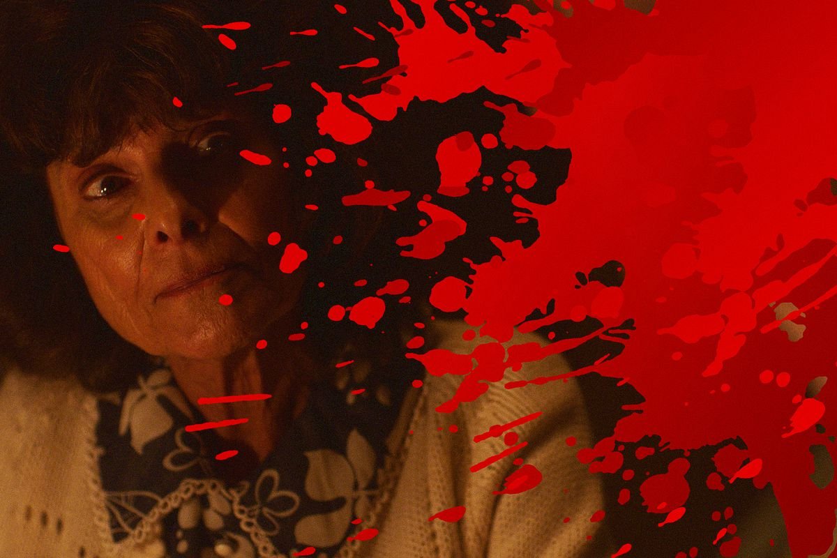 Photo of actor Adrienne Barbeau looking pensive with overlay of blood splatter