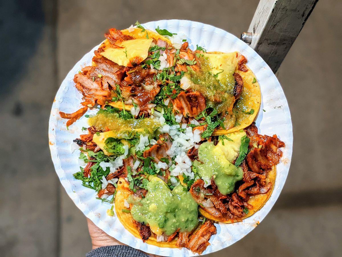 Al pastor tacos from Tacos Los Palomos.