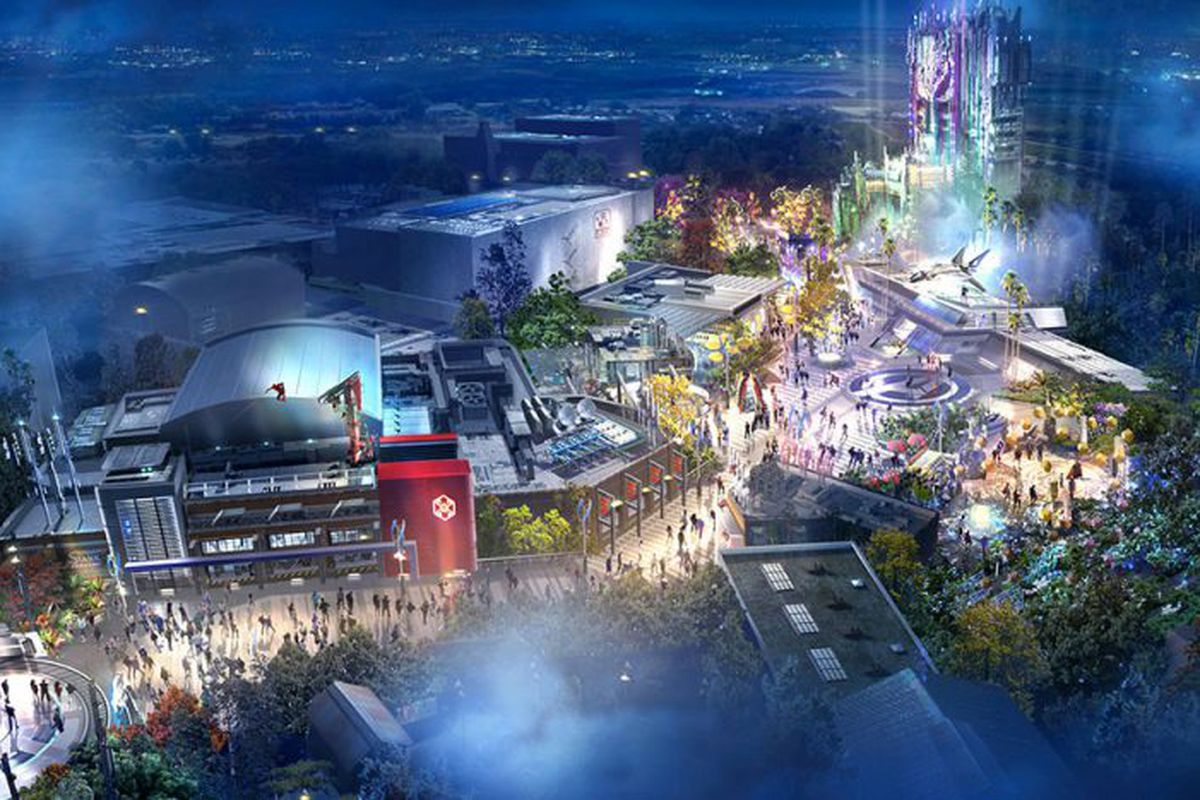 A rendering of Disney's upcoming Avengers campus at Disneyland, from above.