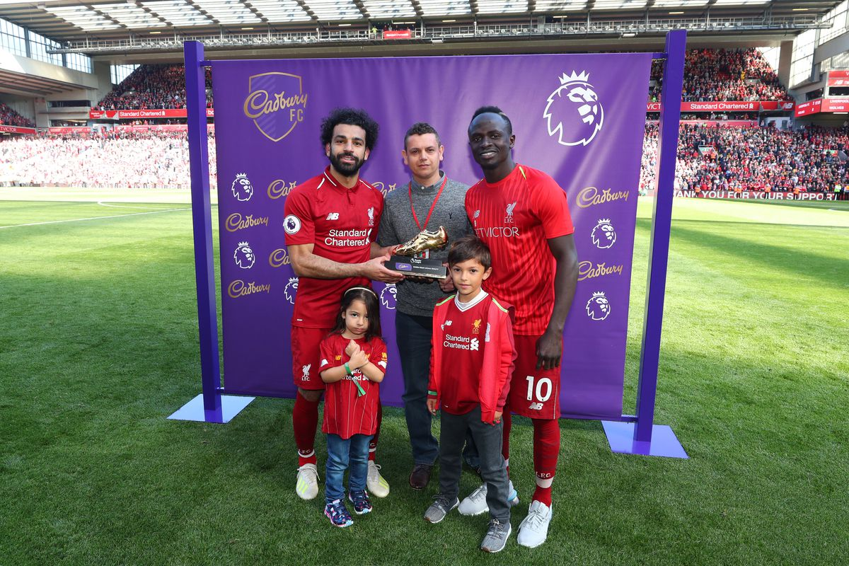 Mo Salah and Sadio Mane pose with Golden Boot Trophy - Liverpool FC - Premier League
