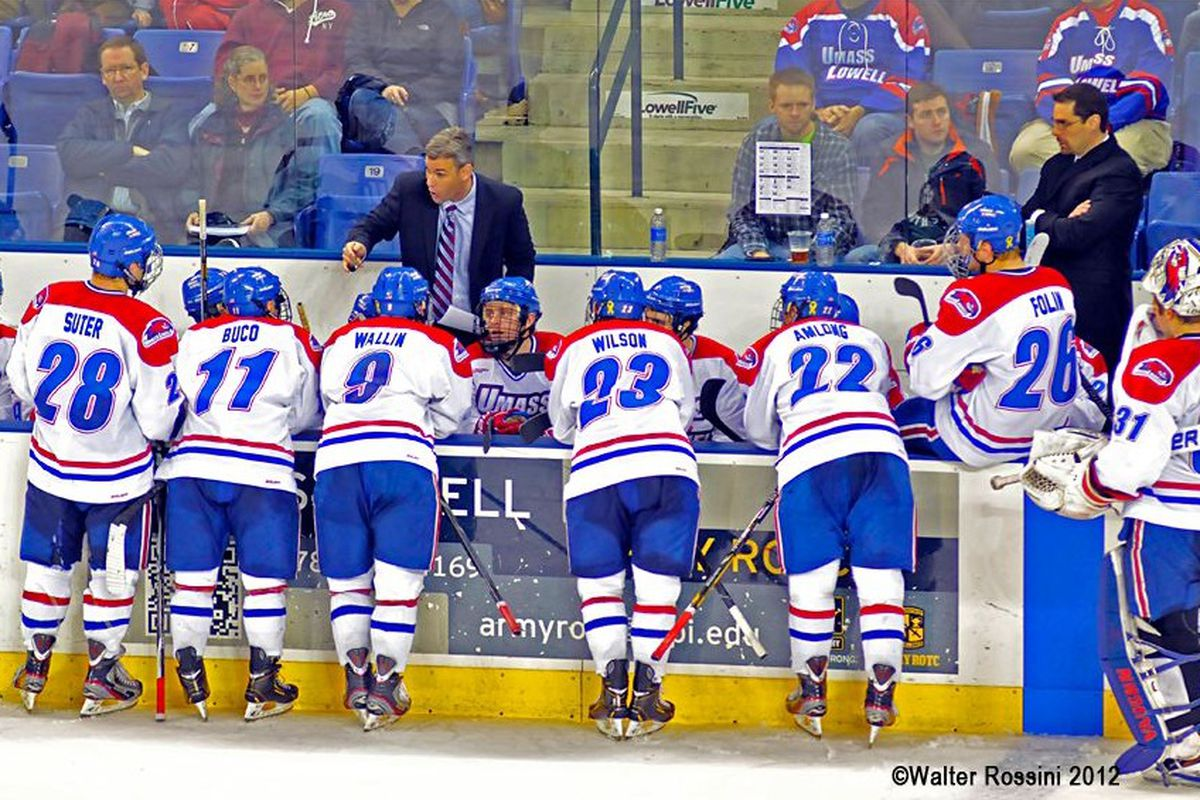 Norm Bazin speaks to his UMass-Lowell team at a game earlier in the season.