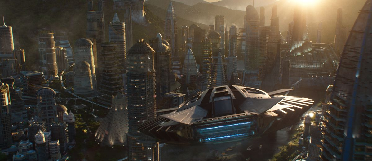 A Talon Fighter over Wakanda in Black Panther