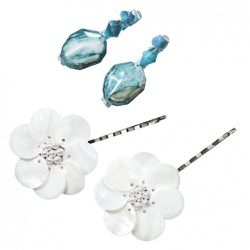 Two-Pack Stone Bobby Pins in Turquoise $7.99, Two-Pack Shell Flower Bobby Pins in White $7.99