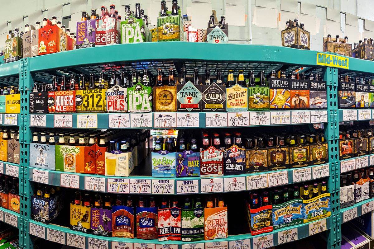 The craft beer aisle at a supermarket.