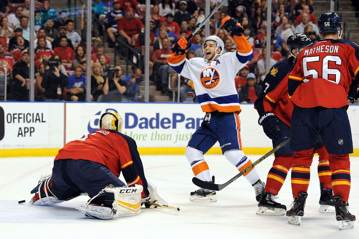 Frans Nielsen celebrates a goal against the Florida Panthers in the Stanley Cup Playoffs