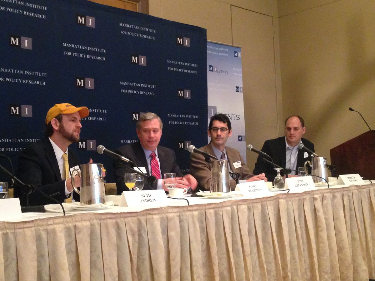 From left, Seth Andrew, James Merriman, New York Daily News Opinion Editor Josh Greenman, who moderated, and Winters. (Not pictured from panel: Ian Rowe)