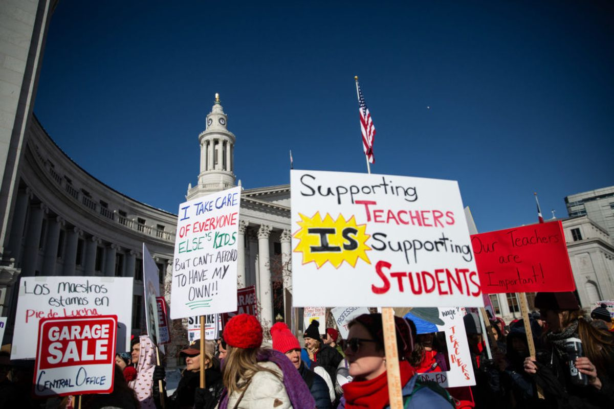 Denver teachers rally on the first day of a three-day strike in February 2019.