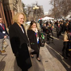 Jackie Biskupski exits the City-County Building prior to being sworn in as Salt Lake City mayor on Monday, Jan. 4, 2016.