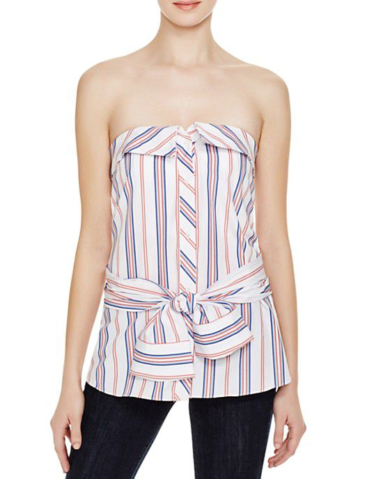 Striped strapless top.
