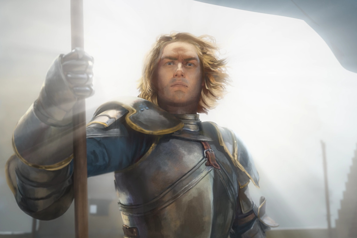 A blonde knight holds a banner in Chivalry 2