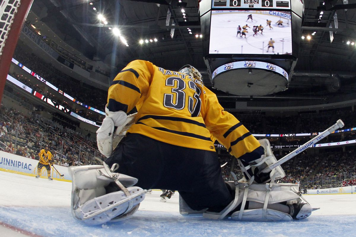 Hobey Baker Award Finalist and Quinnipiac senior goaltender Eric Hartzell hopes to bring the state of Connecticut's first NCAA Hockey championship back to Hamden, Conn.