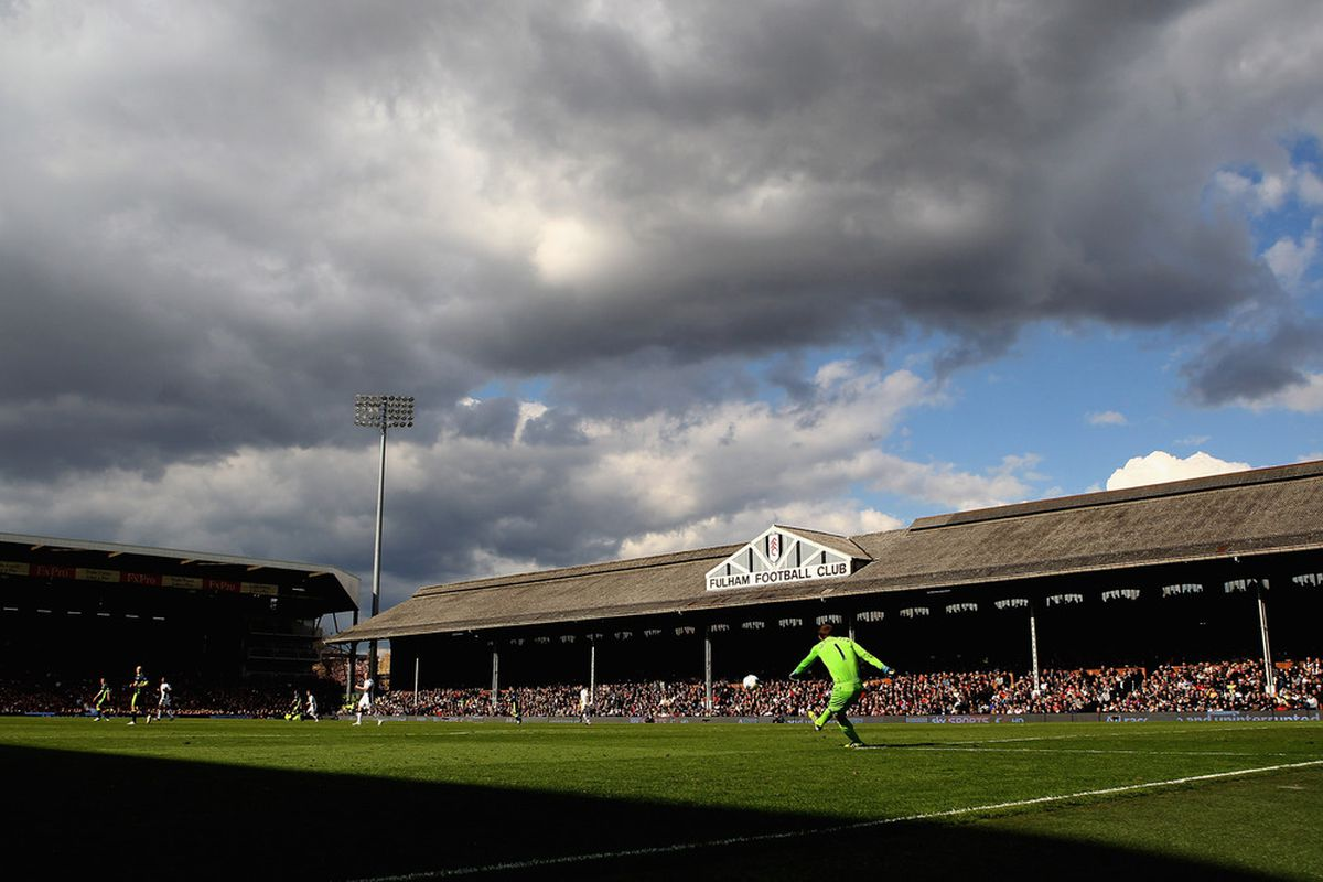LONDON, ENGLAND - APRIL 21:  Mark Schwarzer of Fulham takes a goal kick during the Barclays Premier League match between Fulham and Wigan Athletic at Craven Cottage on April 21, 2012 in London, England.  (Photo by Julian Finney/Getty Images)