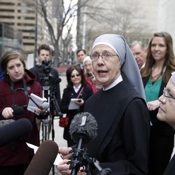 Sister Loraine Marie Maguire, of Little Sisters of the Poor, speaks to members of the media after attending a hearing in the 10th U.S. Circuit Court of Appeals, in Denver, Colo., Monday, Dec. 8, 2014, in this file photo.  The Trump administration on Friday, Oct. 6, announced a long-awaited change to the Affordable Care Act's contraception mandate, expanding exemptions and accommodations to employers with religious and moral objections to birth control.