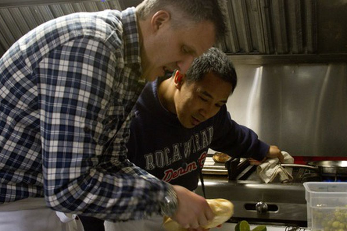 Rene Lenger from Switch and his sous chef Roy Lumansoc at the March 3 BOH Brawl. Lenger won the competition against Joseph Leibowitz of Tableau.