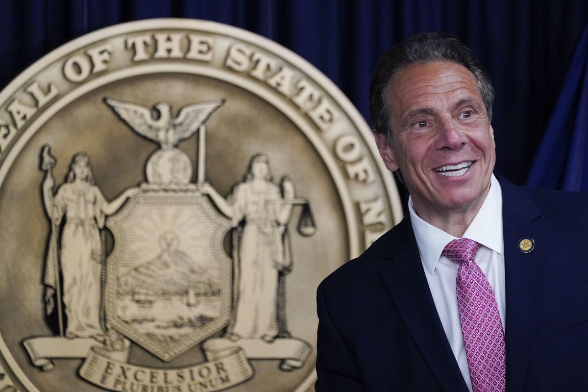 New York Gov. Andrew Cuomo speaks during a news conference, Monday, May 10, 2021 in New York.