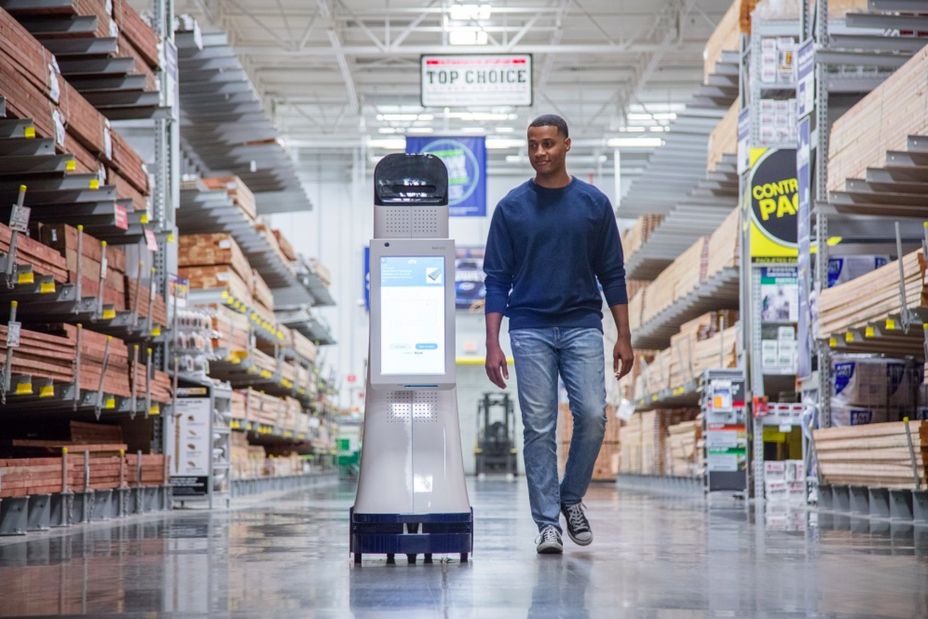 Nvidia's chips will be used to power autonomous robots like the one above, which guides customers around Lowe's stores.