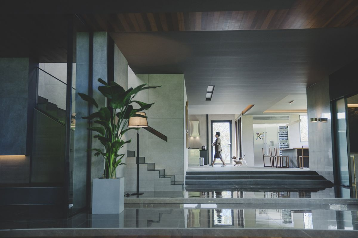 the main floor of the Parks' mansion in Parasite, with housekeeper Moon-gwang walking into the kitchen in the background as a dog follows her