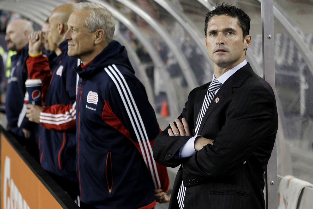 FOXBORO, MA - May 2:  Head coach Jay Heaps of the New England Revolution before their game against the Colorado Rapids at Gillette Stadium on May 2, 2012 in Foxboro, Massachusetts.  (Photo by Winslow Townson/Getty Images)