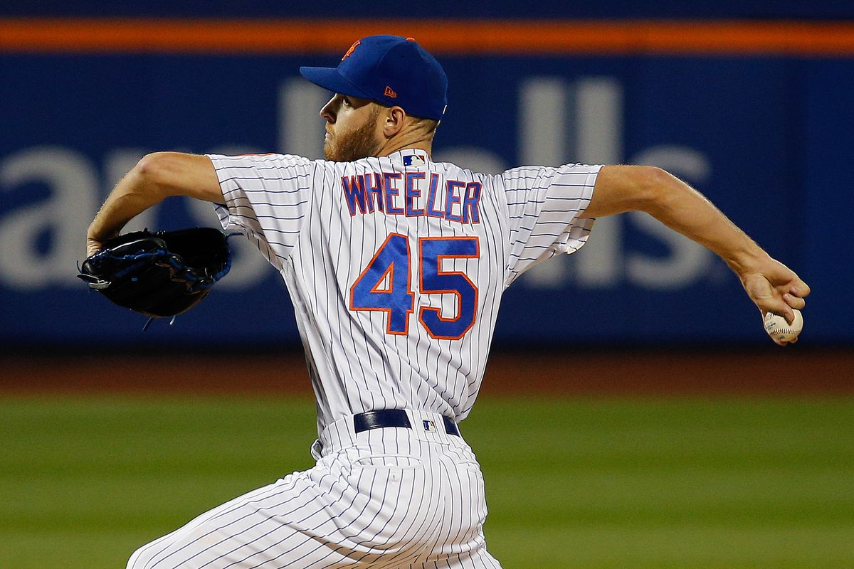 New York Mets starting pitcher Zack Wheeler (45) pitches against the Miami Marlins at Citi Field.