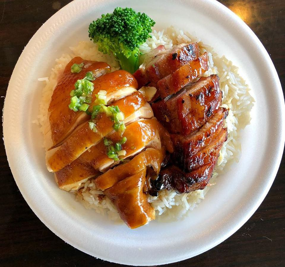 From above, sliced cuts of chicken and pork, both glazed in sauces, sit on top of rice on a paper plate with a broccoli floret and diced vegetable garnish