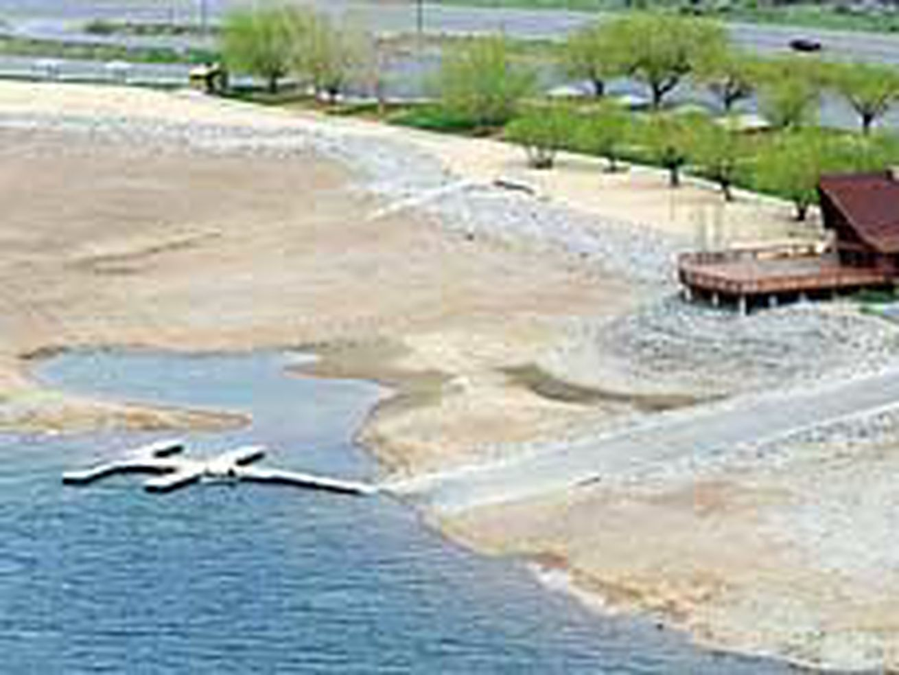 Boaters must contend with an encroaching shoreline near the marina at Deer Creek Reservoir.