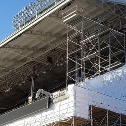Closer view of upper deck in left field
