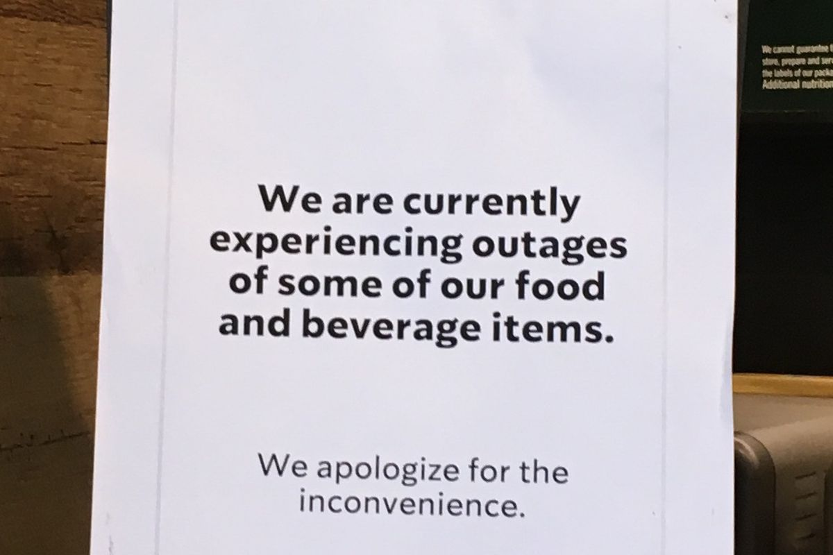 A sign posted Monday inside a Starbucks at 4558 N. Kedzie Ave.