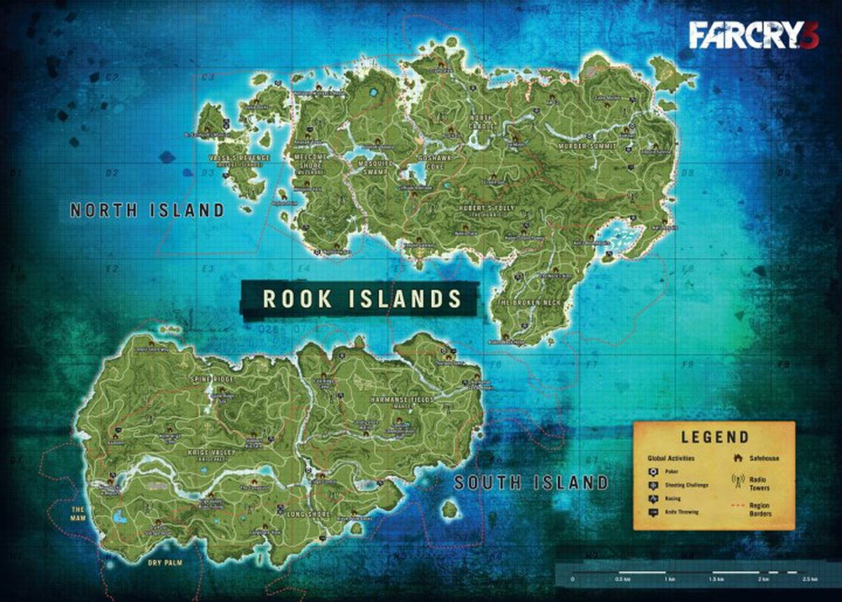 Report far cry 4 map shows how big the game really is polygon far cry 3 map gumiabroncs Gallery